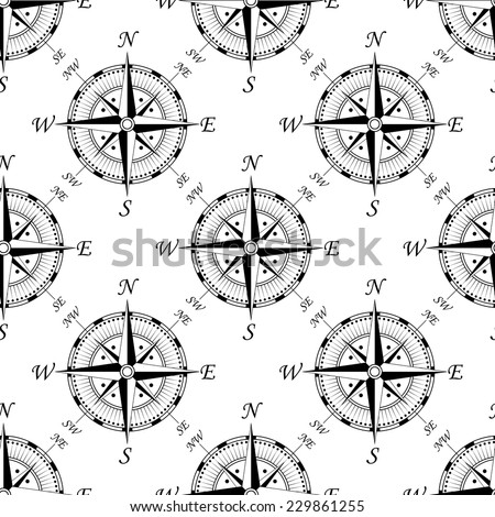 Vintage compass seamless background pattern showing the compass points, for travel or vintage design - stock vector