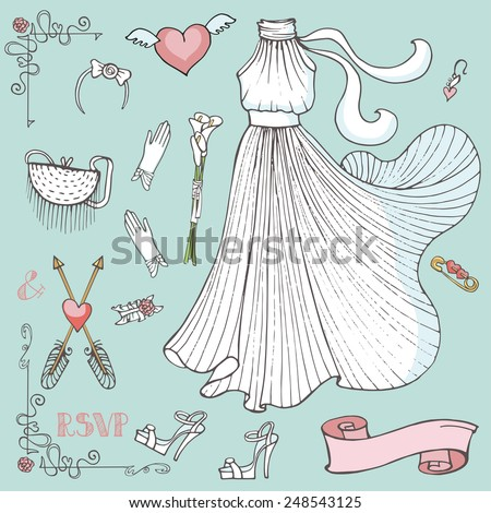 Vintage composition of wedding long dress with handbag, high heel shoes ,garter,Kala flowers bouquet ,swirls,arrows.Retro romantic.Fashion bridal shower vector Illustration in outline