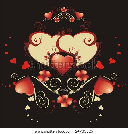 Vintage composition to the Valentine's day .(vector illustration)