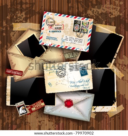 Vintage composition with old style distressed postage design elements and antique photo frames plus some post stickers. Background is wood. - stock vector