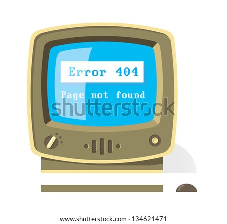 Vintage computer monitor with keyboard and mouse with Error 404 Page not found message on screen - stock vector