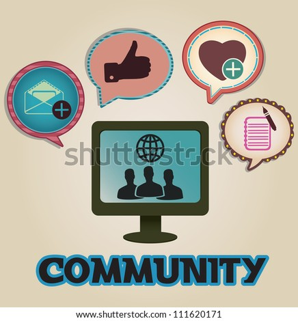 Vintage concept of community with bubbles - vector illustration