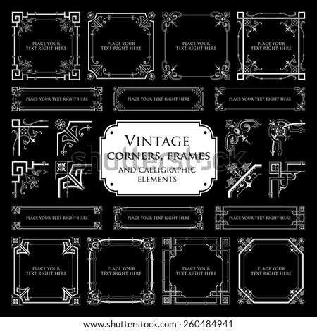 Vintage corners, frames and calligraphic elements - isolated on black background - stock vector