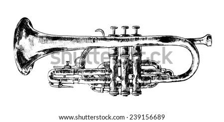 Vintage Cornet Doodle, Hand Drawn Sketch Of Jazz Instrument, Vector Illustration. - stock vector