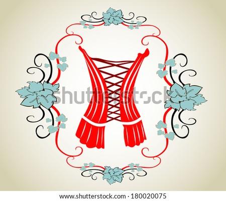 vintage corset - stock vector