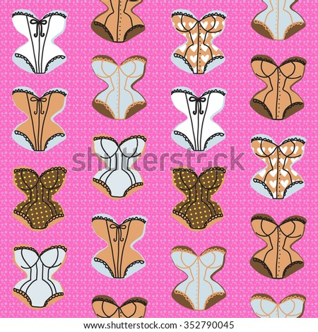 Vintage corsets seamless pattern on pink background - stock vector