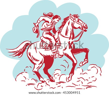 VIntage cowgirl from the Wild West holding her hat and riding a galloping wild horse kicking up clouds of dust - stock vector