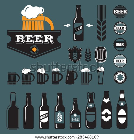 Vintage craft beer, brewery retro design elements, emblems, symbols, icons, pub labels, badges collection. Business signs template, logos, identity, labels, badges and objects. - stock vector
