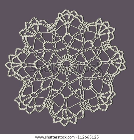 Crocheting Vector : Vintage crochet doily. Vector. - stock vector