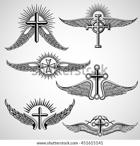 vintage cross wings vector elements stock vector 451615141