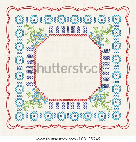 Vintage cross stitch. Vector imitation of the vintage cross stitch floral ornate on the tablecloth - stock vector