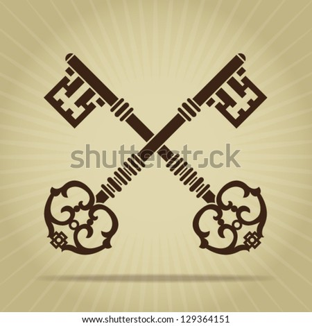 Vintage Crossed Keys Silhouette - stock vector