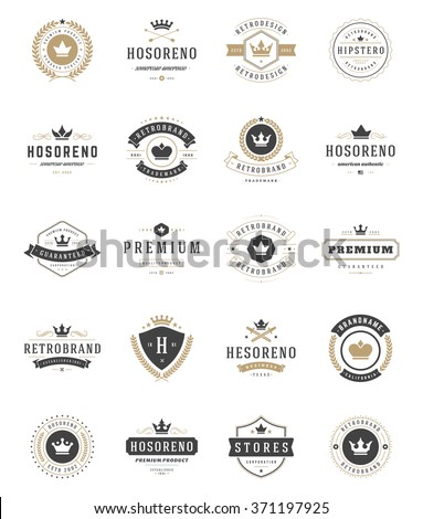 Vintage Crowns Logos Set. Vector design elements, Premium Quality Labels, Crown Vector, King Crown, Crown Icons, Crown Symbols. Crest Logos, Royal Logos, Hotel Logos, Vintage Logo, Heraldic Logos. - stock vector