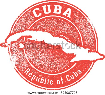 Vintage Cuba Country Travel Stamp - stock vector