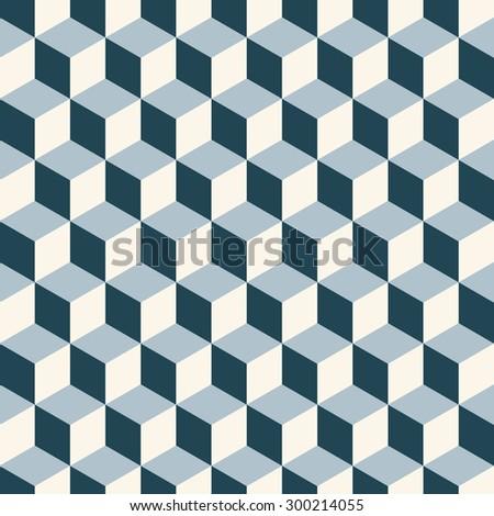 Vintage cubes 3d pattern background. Retro vector pattern. - stock vector