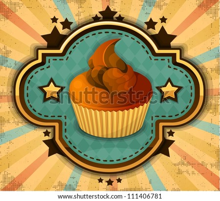 vintage cup cake - stock vector