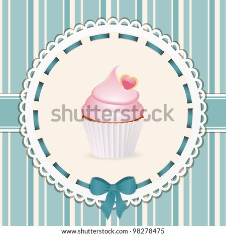Vintage cupcake background with blue ribbon - stock vector