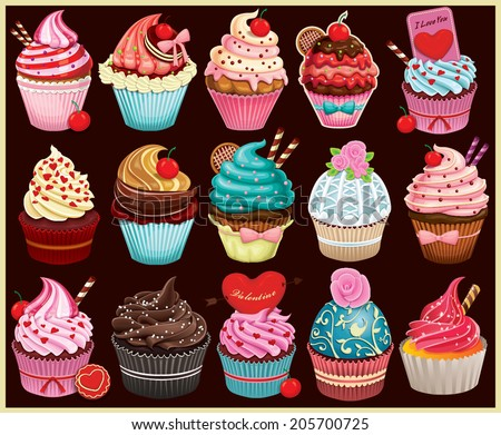 Vintage Cupcake poster set design - stock vector