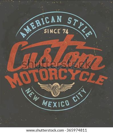 vintage custom motorcycle label. Original quality te print - stock vector