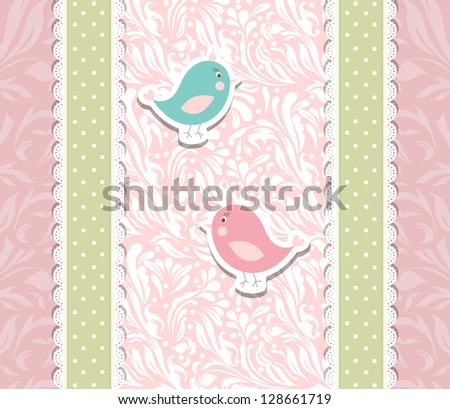 Vintage cute art baby pink background for invitation,anniversary, backdrop, card, new year brochure, banner, border, wallpaper, template,  illustration, texture vector eps 10 - stock vector