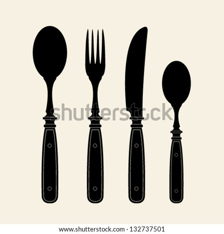 Vintage Cutlery Silhouettes - stock vector
