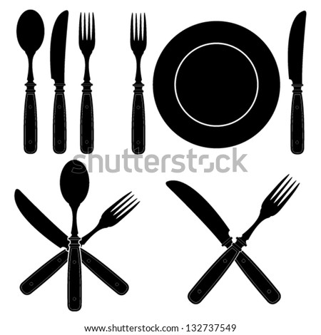 Vintage Cutlery Silhouettes designs - stock vector