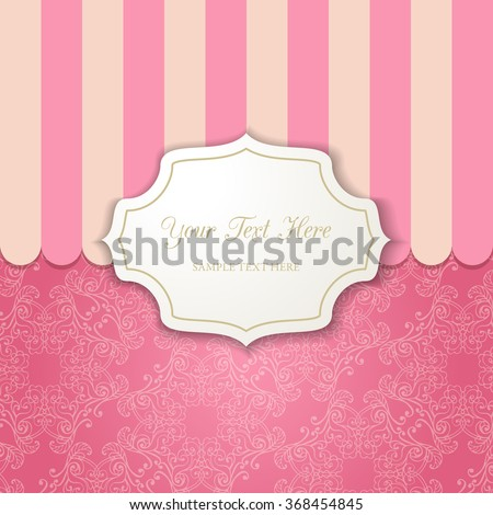 Vintage cutout frame with shadow on a striped pink background. Template for your design. Vector illustration EPS 10 - stock vector