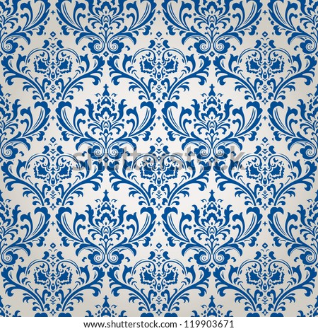 Vintage Damask Brocade Wallpaper Vector Background Tile - stock vector