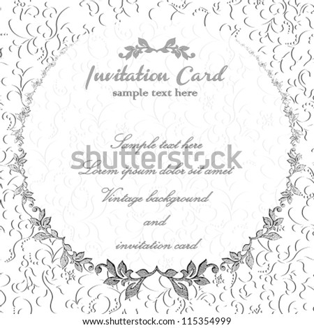 Vintage damask floral invitation card, with vector seamless wallpaper flower pattern. Romantic illustration background.