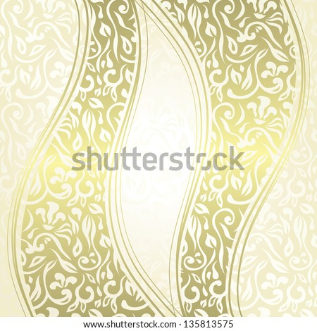 Vintage damask seamless background with a ribbons. Can be used as invitation or a greeting card - stock vector