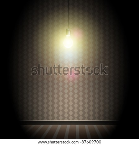 Vintage Dark Room with Bright Glowing Light Bulb - stock vector