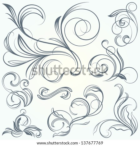 Vintage Decor: Scroll Vignettes - stock vector