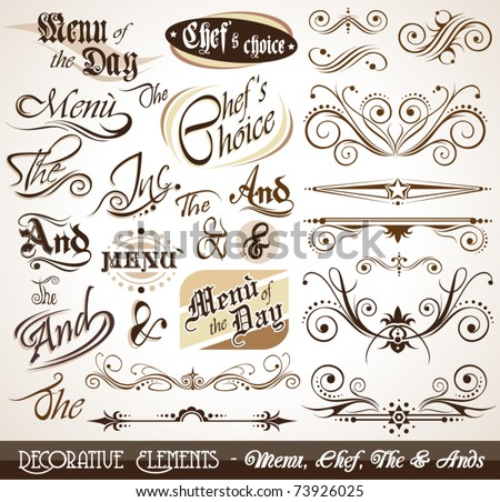 Vintage Decorative Calligraphic Elements: Men?, Chef's Choice, The & Ands.
