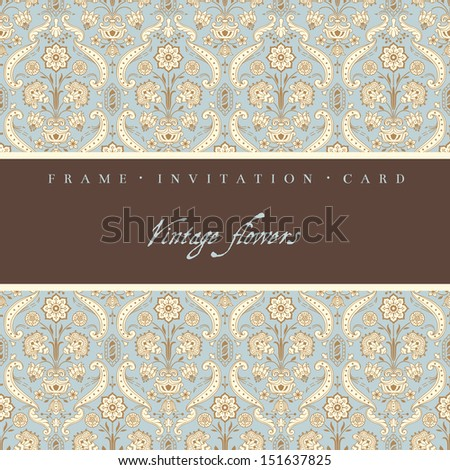 Vintage decorative card with stylized flowers.