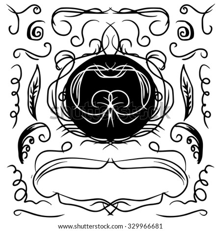 Vintage decorative curls and swirls collection. Hand drawn vector design elements - stock vector