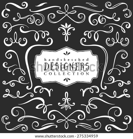 Vintage decorative curls and swirls collection. Hand drawn vector design elements on blackboard. - stock vector