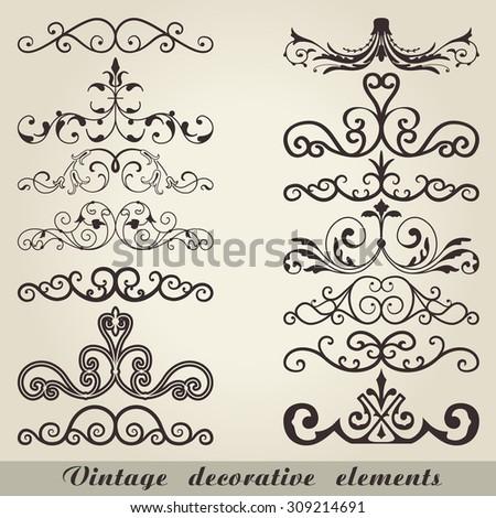 Vintage decorative elements - stock vector