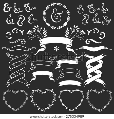 Vintage decorative elements with lettering. Hand drawn vector design wedding set. - stock vector
