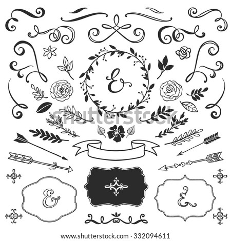 Wedding Decoration Elements Vector on great gatsby font