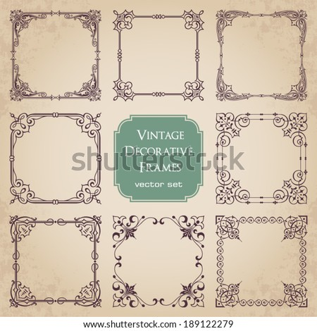Vintage decorative frames - set 3 - stock vector
