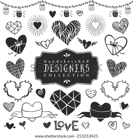 Vintage decorative hearts collection. Hand drawn vector design elements - stock vector