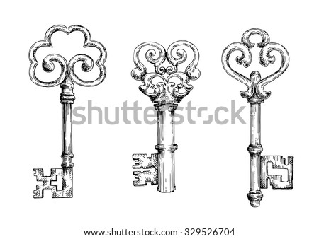 Vintage Decorative Keys With Ornamental Bows Adorned By Swirls And Forged Elements Sketch Style