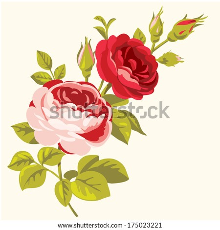 Vintage decorative roses. Bouquet of roses - stock vector