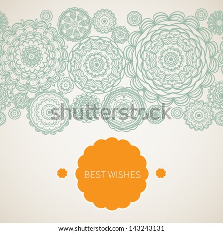 Vintage decorative seamless border with lacy ornament. Place for your text. It can be used for decorating of invitations, cards and decoration for bags. - stock vector