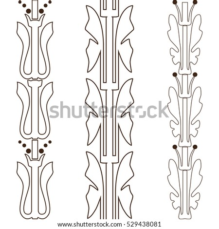 Vintage decorative set outline black floral pattern seamless vertical border vector illustration isolated on white background