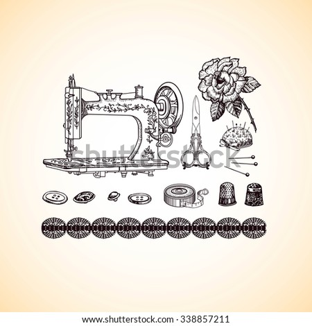 Vintage decorative set with  accessories for needlework. Hand drawing. Illustration for greeting cards, invitations, and other printing and web projects. - stock vector