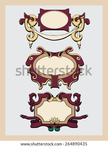 Vintage decorative vector frames and cartouches set in Victorian style with a place for text