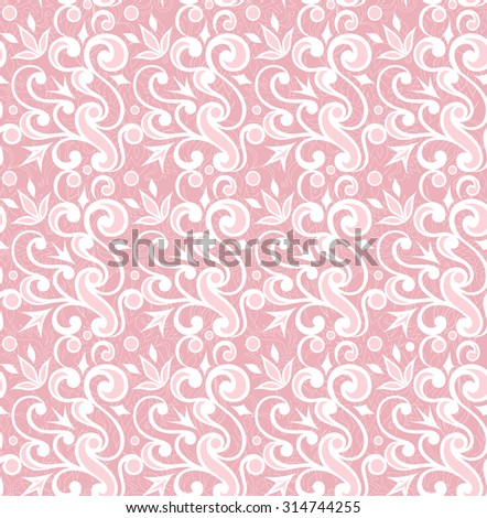 Vintage decorative vector seamless texture. Element for design. Ornamental backdrop. Ornate floral decor for wallpaper. Traditional decor on pink background.
