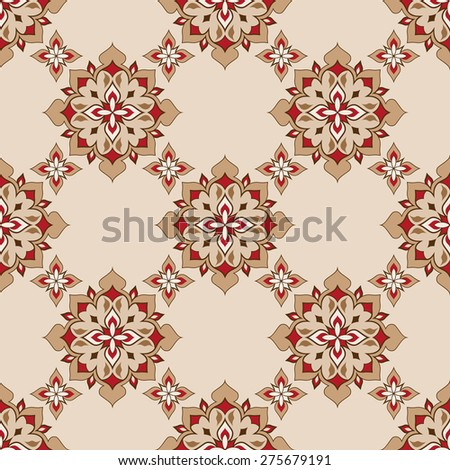 Vintage decorative vector seamless texture in Victorian style. Element for design. Ornamental backdrop. Pattern fill. Ornate floral decor for wallpaper. Traditional decor on beige background.   - stock vector