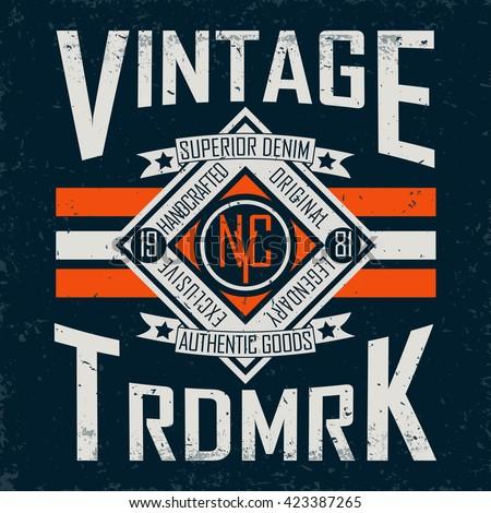 Vintage Denim  typography, grunge  t-shirt graphics, vintage grunge Artwork apparel stamp, Vintage Denim  wear tee print design, Denim goods emblem, vector - stock vector
